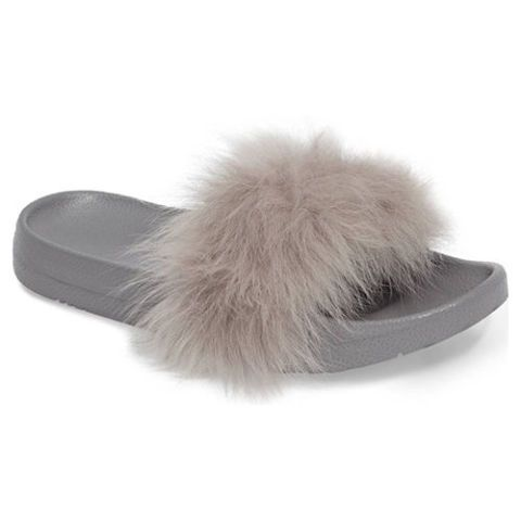 ugg royale gray shearling slides