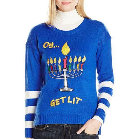 Blizzard Bay Women's Oy Get Lit Chanukah Ugly Christmas Sweater LED Light Up