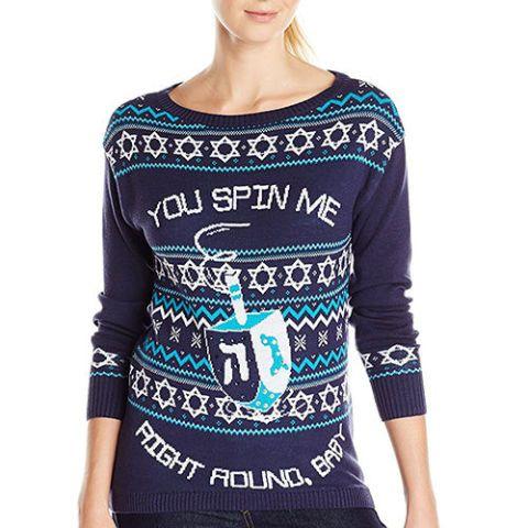 Isabella's Closet Women's You Spin Me Right Round Baby Dreidel Hanukkah Sweater