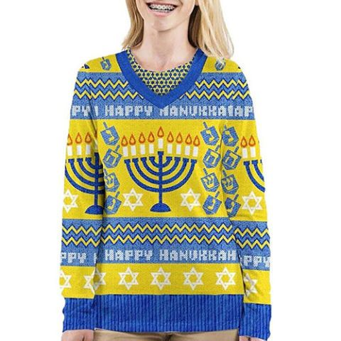 Faux Real Women's Hanukkah Ugly V-Neck Sweater