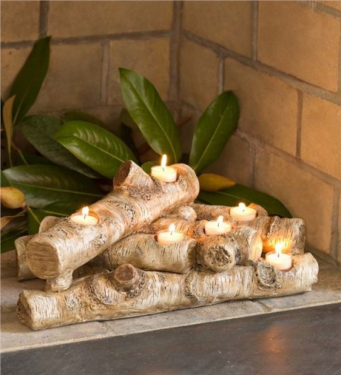 Plow & Hearth Logs Hearth Candle Holder