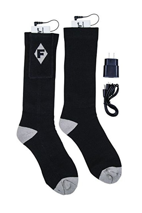"""<p><strong data-redactor-tag=""""strong"""" data-verified=""""redactor""""><i data-redactor-tag=""""i"""">from $63&nbsp&#x3B;<a href=""""https://www.amazon.com/Flambeau-Mens-Heated-Socks-Large/dp/B010351WJ4/?tag=bp_links-20"""" data-tracking-id=""""recirc-text-link"""" target=""""_blank"""" class=""""slide-buy--button"""">BUY NOW</a></i></strong><br></p><p><span class=""""redactor-invisible-space"""" data-verified=""""redactor"""" data-redactor-tag=""""span"""" data-redactor-class=""""redactor-invisible-space"""">We love the warmth these babies&nbsp&#x3B;provide, not only from the rechargeable 3.7-volt battery packs, but also because of the heat-trapping wool-blend fabric. They're a medium-weight sock because too thin of a sock&nbsp&#x3B;lets heat escape, and a sock that's too thick (or wearing two pairs) can actually be counterproductive if you're exercising outdoors in the cold.&nbsp&#x3B;</span></p><p><span class=""""redactor-invisible-space"""" data-verified=""""redactor"""" data-redactor-tag=""""span"""" data-redactor-class=""""redactor-invisible-space""""><strong data-redactor-tag=""""strong"""" data-verified=""""redactor"""">More:</strong>&nbsp&#x3B;<a href=""""http://www.bestproducts.com/fitness/g2199/skiing-socks-high-performance/"""" data-tracking-id=""""recirc-text-link"""" target=""""_blank"""">Ski All Day With These Skiing and Snowboarding Socks</a><span class=""""redactor-invisible-space"""" data-verified=""""redactor"""" data-redactor-tag=""""span"""" data-redactor-class=""""redactor-invisible-space""""></span></span></p>"""
