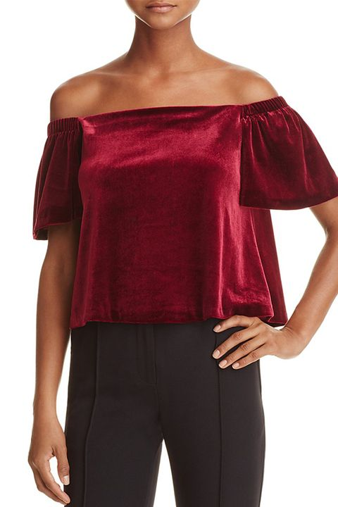 aqua velvet off the shoulder red crop top