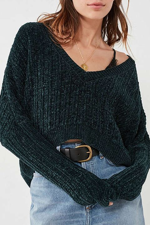 silence and noise cropped chenille green sweater