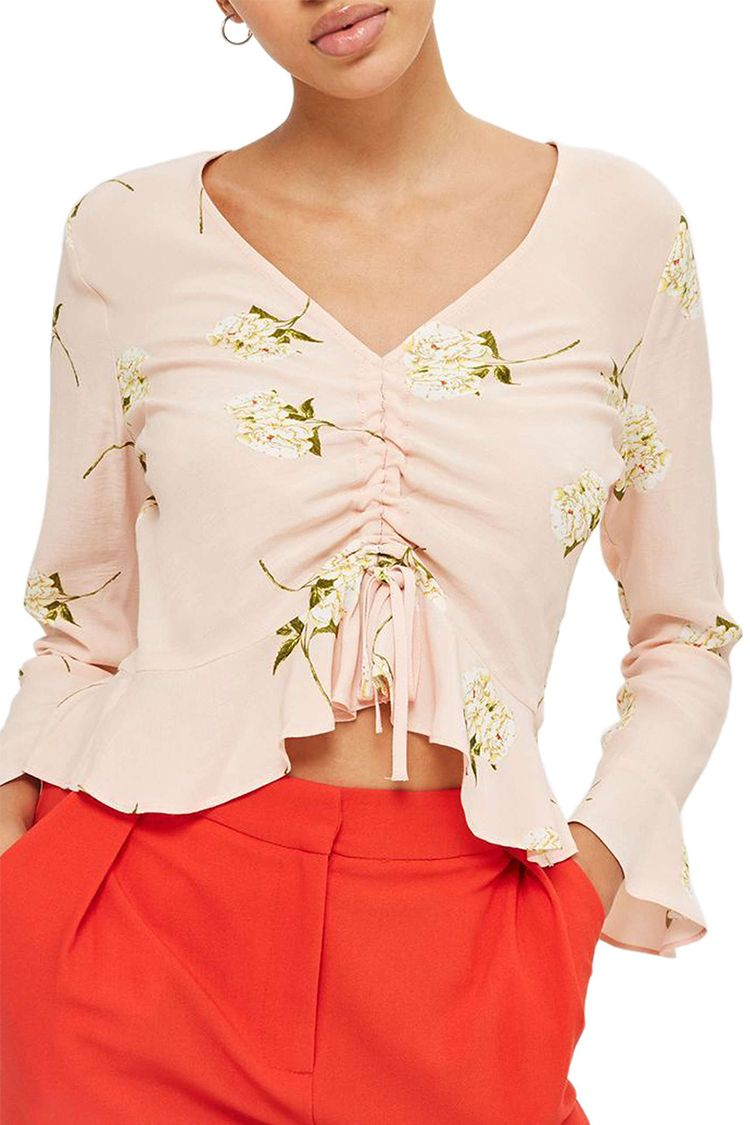 topshop ruby carnation ruched top