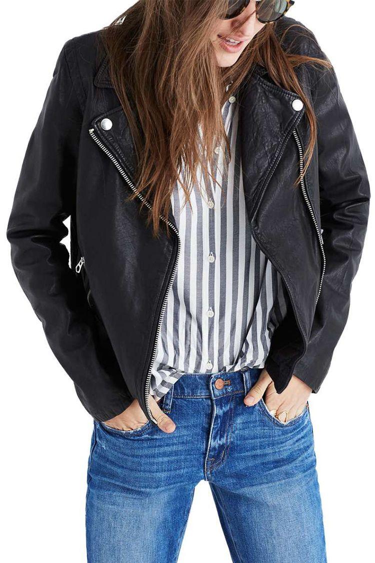 madewell black leather moto jacket