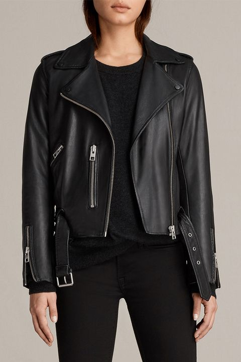 all saints balfern leather black moto jacket