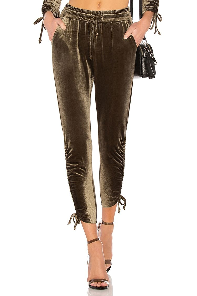 by the way behati green velour joggers