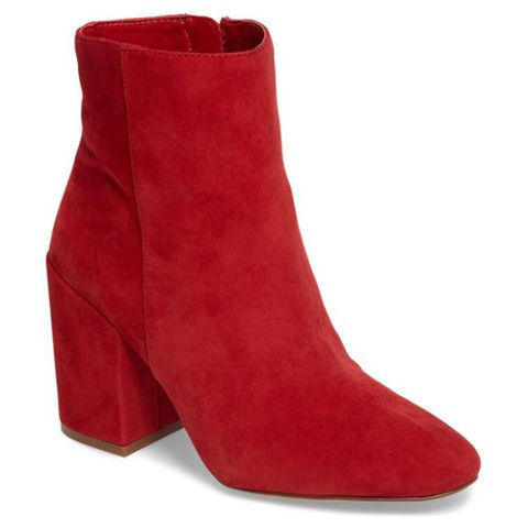 vince camuto red suede ankle boots