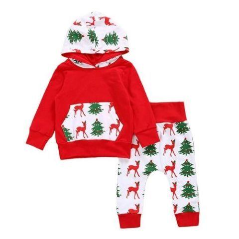 Best Baby Christmas Outfits Trees Deer Hoodie