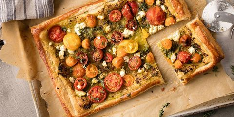 Puff Pastry Pesto Pizza with Ricotta & Cherry Tomatoes