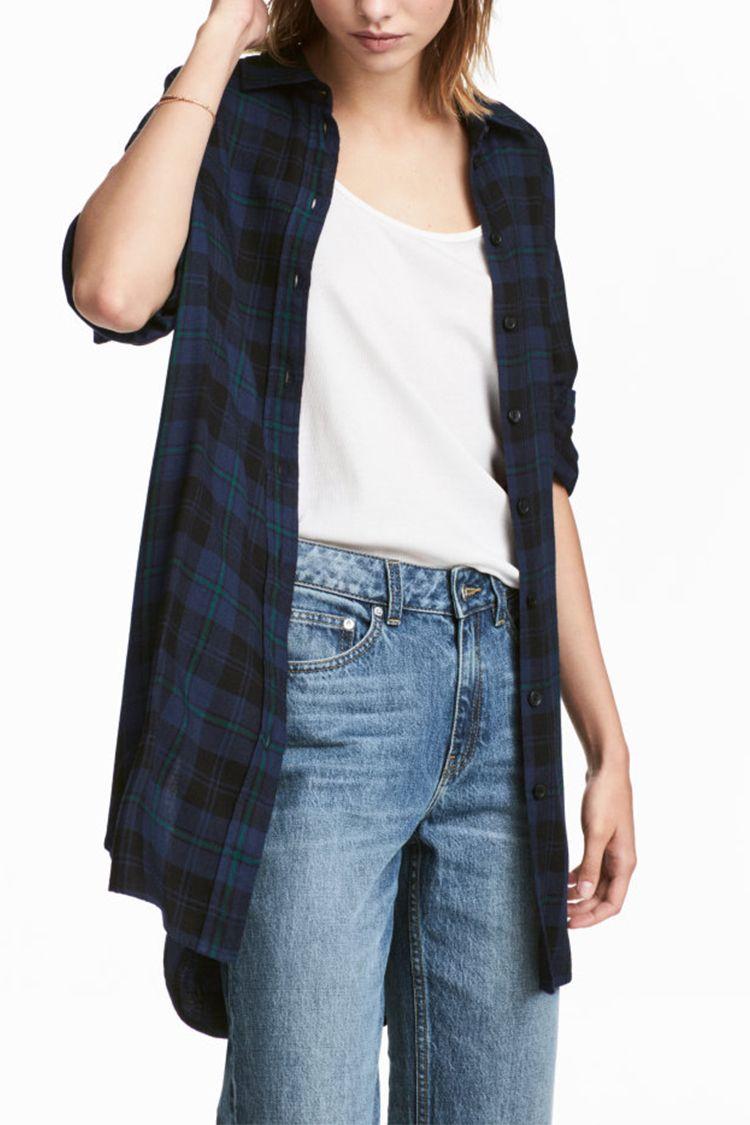 h&m blue plaid long flannel shirt