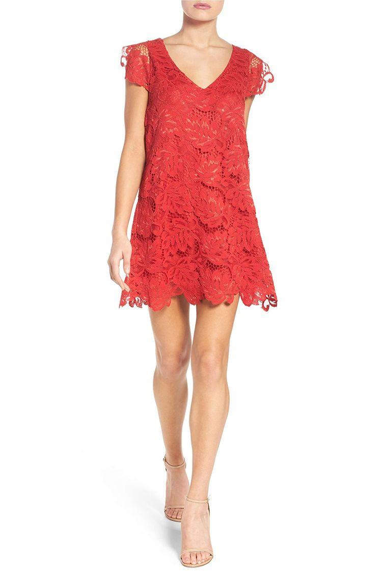 bb dakota red lace shift dress