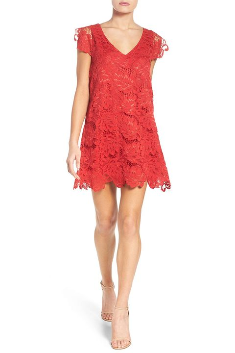 bb dakota red lace shift dress