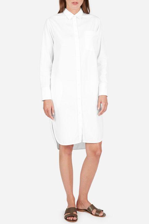 everlane white shirtdress