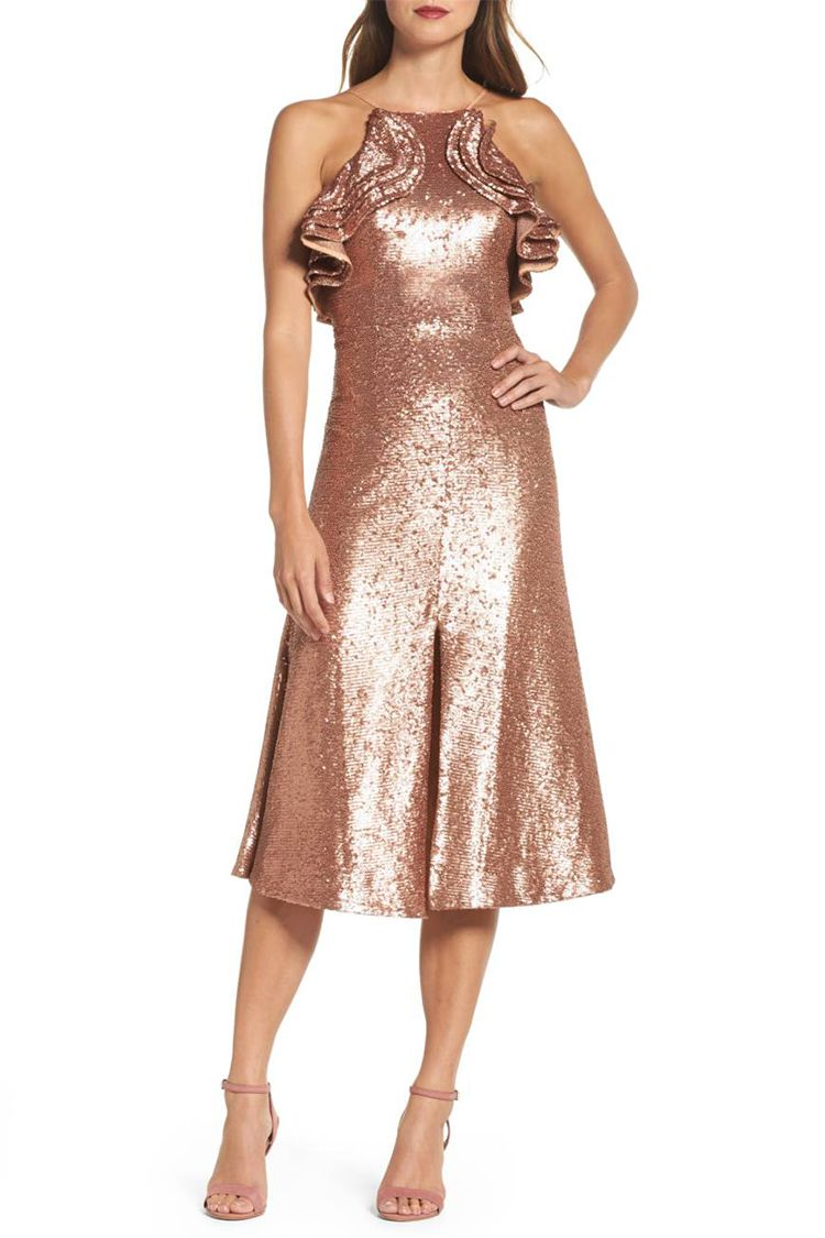 cameo collective rose gold sequin dress
