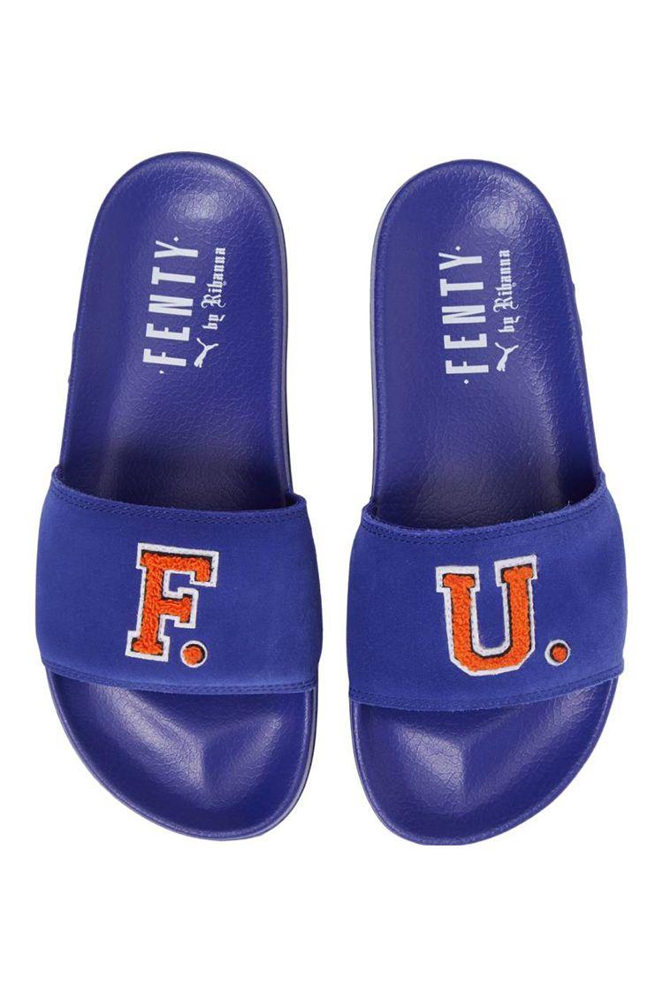 fenty FU blue slide sandals