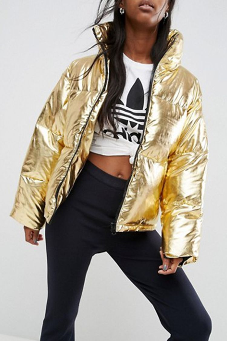 """<p><strong data-redactor-tag=""""strong"""" data-verified=""""redactor""""><em data-redactor-tag=""""em"""" data-verified=""""redactor"""">$95</em></strong> <a href=""""http://us.asos.com/asos/asos-metallic-puffer-jacket/prd/7975285?"""" target=""""_blank"""" class=""""slide-buy--button"""" data-tracking-id=""""recirc-text-link"""">BUY NOW</a></p><p>A gold puffer coat adds a luxe touchto your winter wardrobe. Wear with any and all things athleisure for a streetwear edge, or keep it classic as the accent piece to a basic denim-and-sweater combo.<span>This machine-washable jacket has a funnel neck that'll provide some serious warmth against wind and cold.</span></p><p><strong data-redactor-tag=""""strong"""" data-verified=""""redactor"""">More:</strong> <a href=""""http://www.bestproducts.com/fashion/g46/varisty-and-bomber-jackets/"""" target=""""_blank"""" data-tracking-id=""""recirc-text-link"""">Shop Our Picks for the Most Stylish Bomber Jackets Around</a></p>"""
