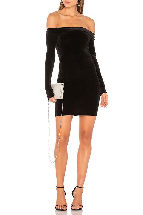 bailey44 black velvet off the shoulder dress