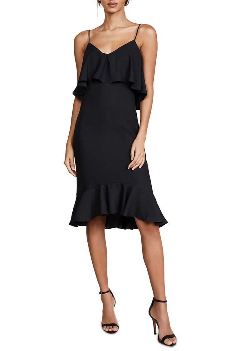 likely black ruffle dress
