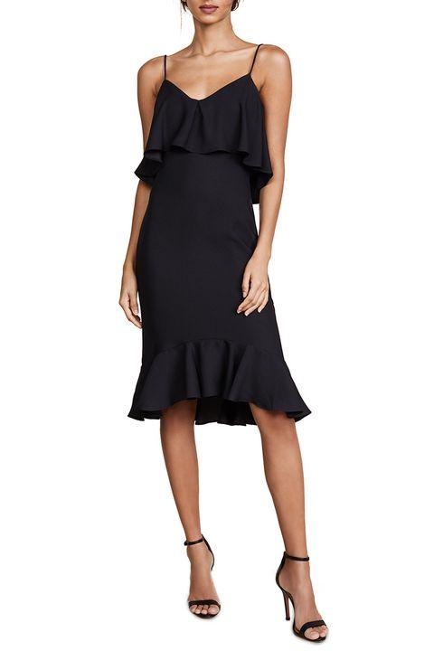 likely black ruffle dress