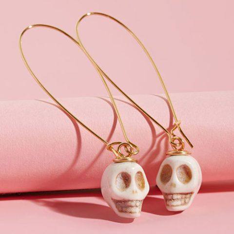 mod cloth skull drop earrings