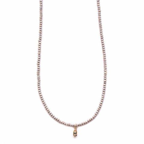 gold and gray beaded skull necklace