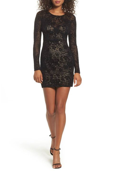 lulu's black velvet burnout dress