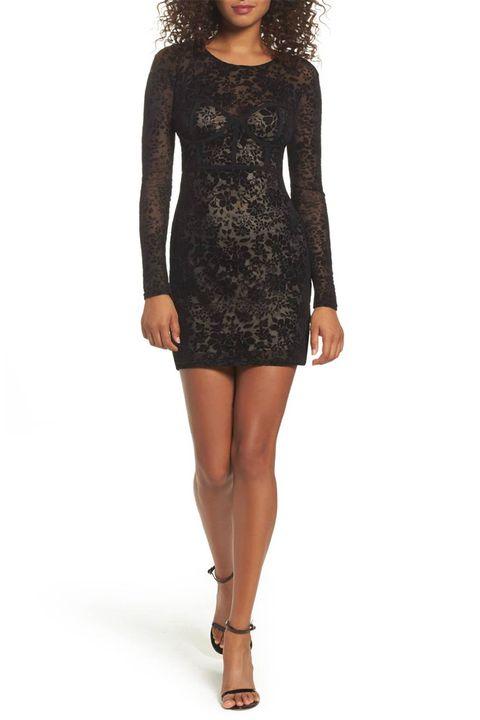 lulu's black velvet burnout dress