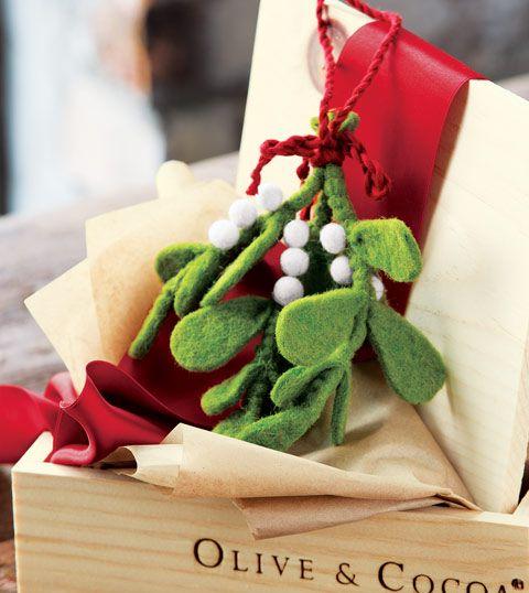 Olive & Cocoa Felted Mistletoe Ornament