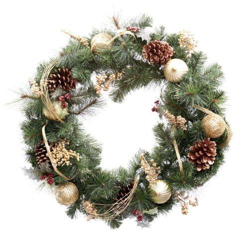 Martha Stewart Living 30 in. Unlit Golden Holiday Artificial Wreath