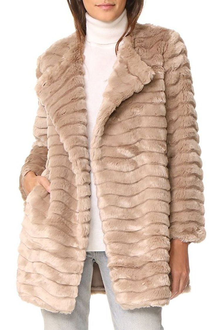 bb dakota faux fur tan coat