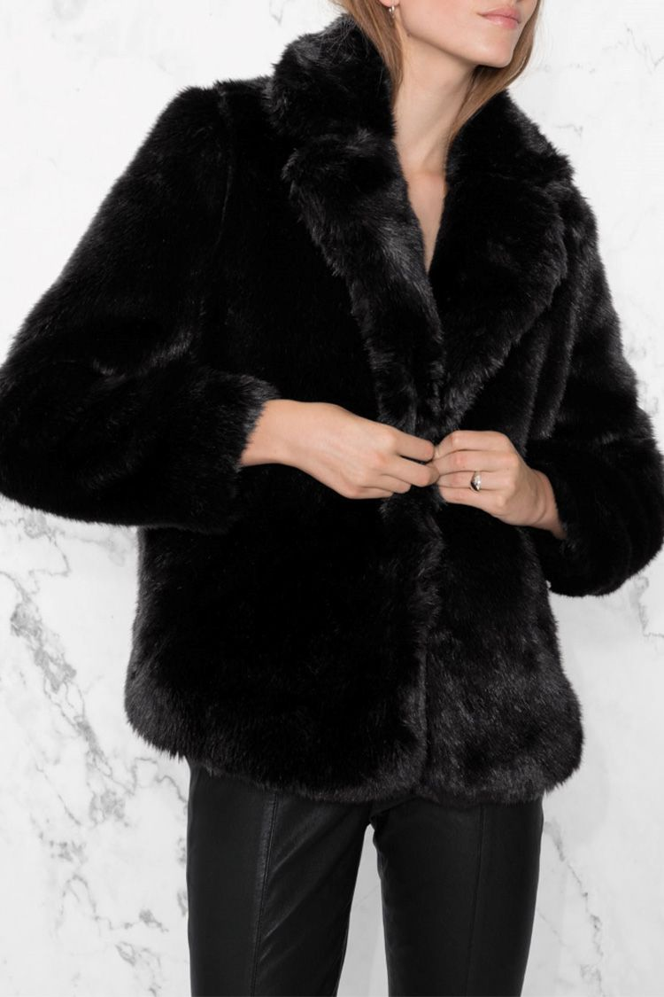 and other stories black faux fur jacket