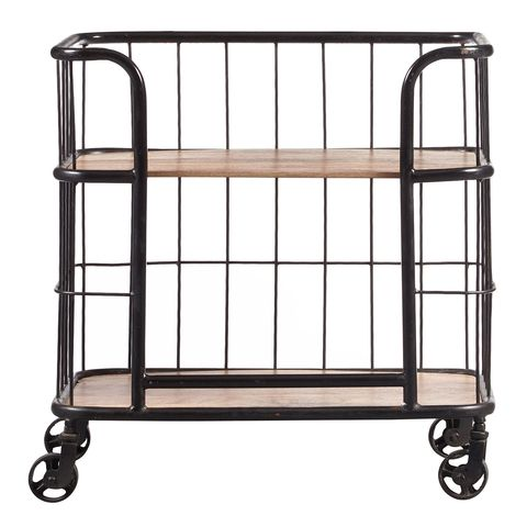 Pier 1 Imports Industrial Wood & Metal Trolley Bar Cart