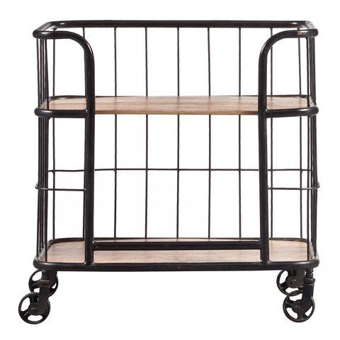 Pier 1 Imports Industrial Wood & Metal Trolley Bar Cart