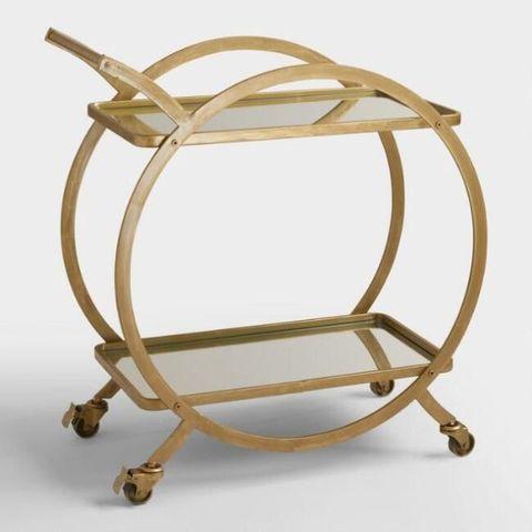 World Market Asher 2-Tier Gold Rolling Bar Cart