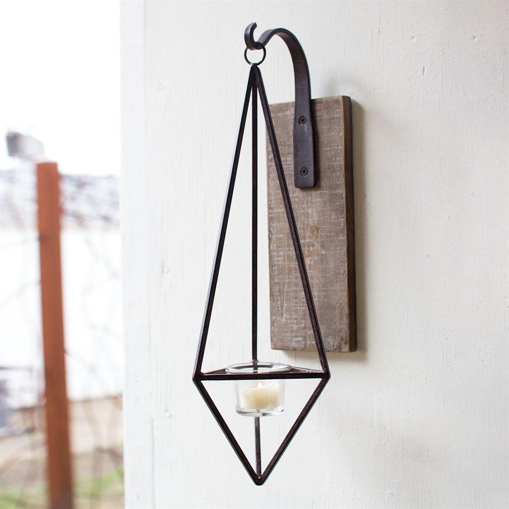 Kalalou Hanging Metal Diamond Wall Candle Sconce