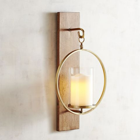 Pier 1 Imports Wooden Plank Candle Holder Wall Sconce