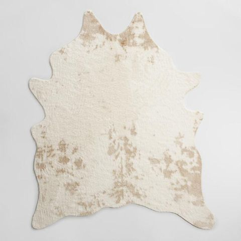 World Market Ivory Printed Faux Cowhide Area Rug