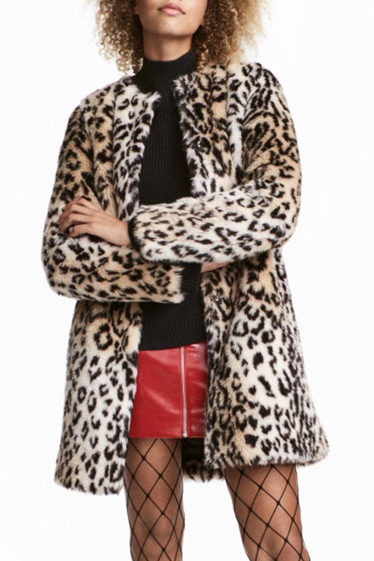 h&m leopard faux fur coat