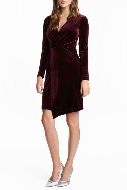 h&m velvet long sleeve dress burgundy