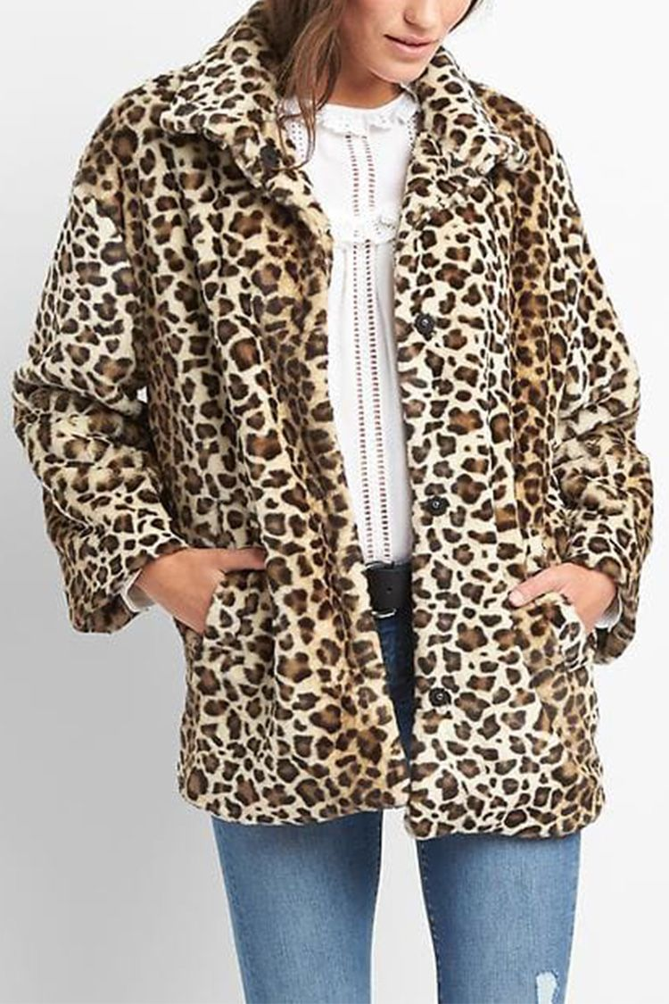 gap leopard faux fur coat