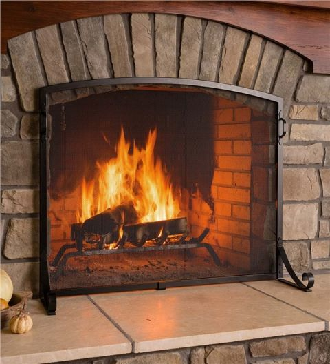 Plow & Hearth Arched Top Flat Guard Fireplace Screen