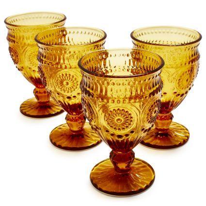 Sur la Table Amber Floral Wine Glasses