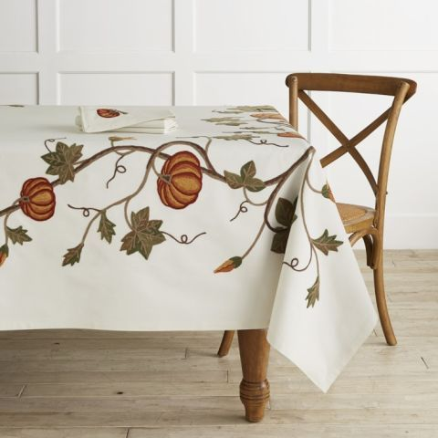 Williams-Sonoma Pumpkin Embroidery Tablecloth