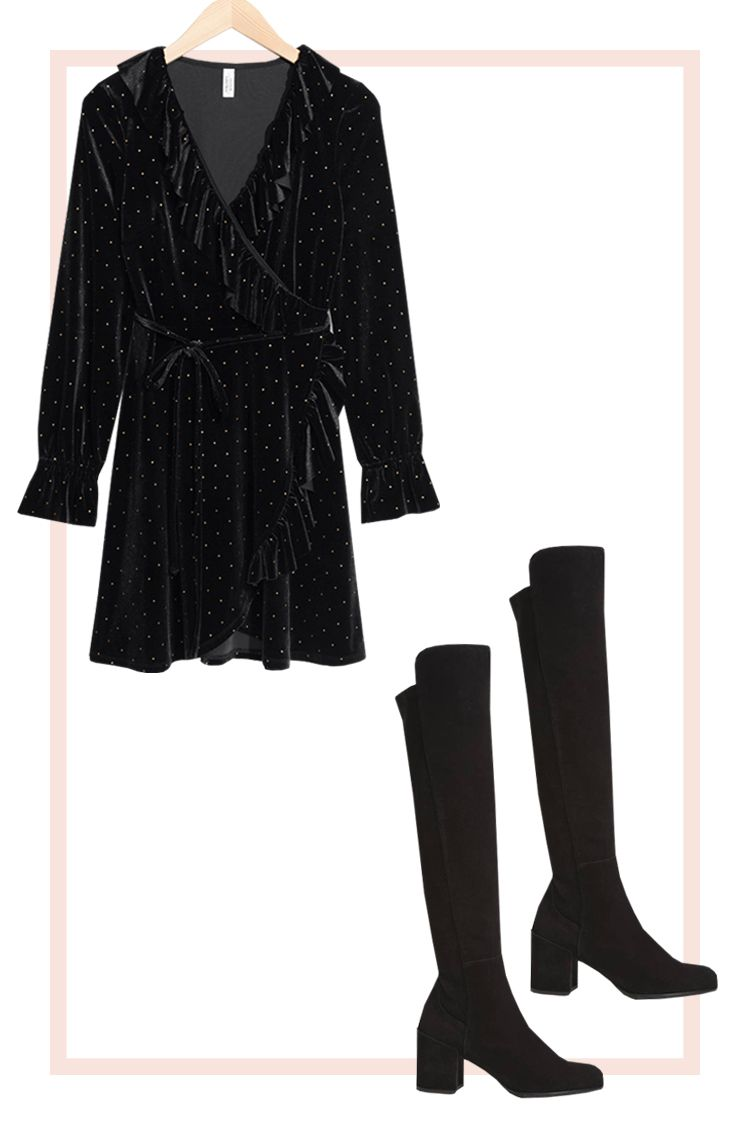 Velvet Wrap Dress and Over-the-Knee Boots