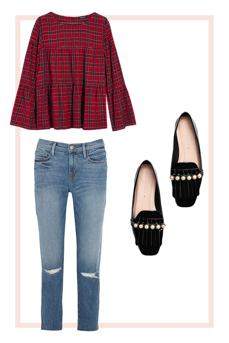 Plaid Blouse and Loafers