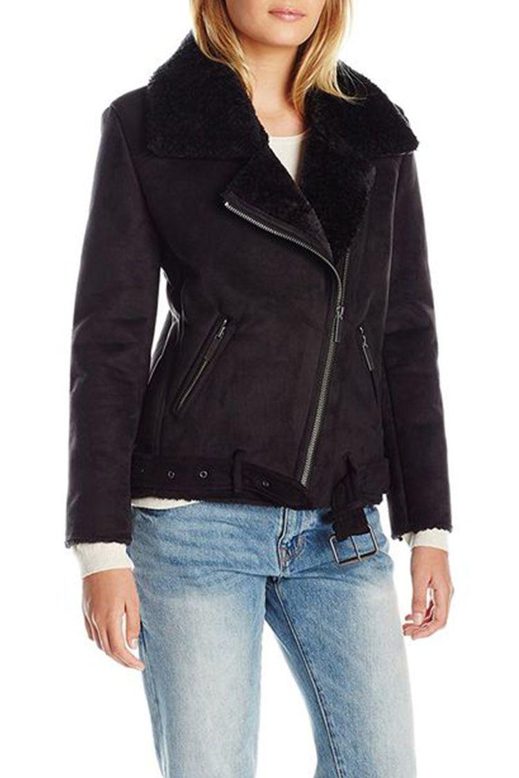 JOA shearling moto jacket black