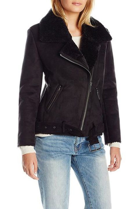 JOA shearling moto jacket black