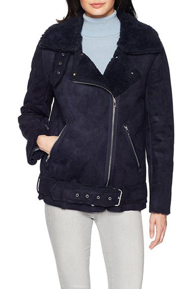 JOA shearling navy moto jacket